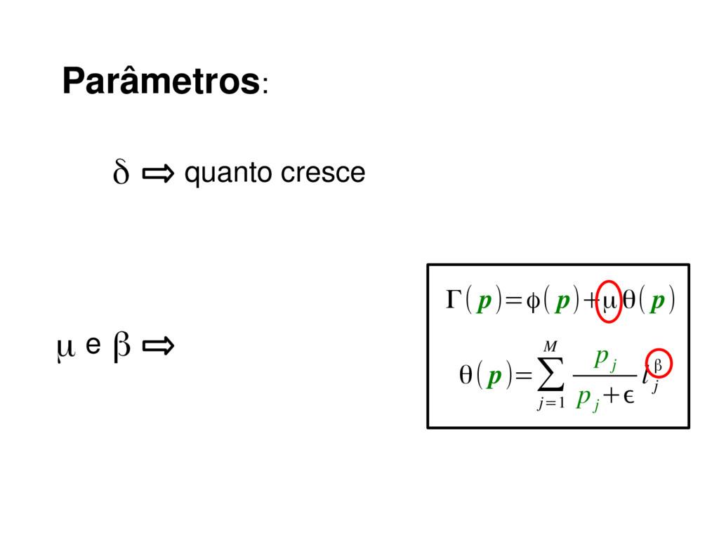 Parâmetros: δ quanto cresce β Γ( p)=ϕ( p)+μ θ( ...