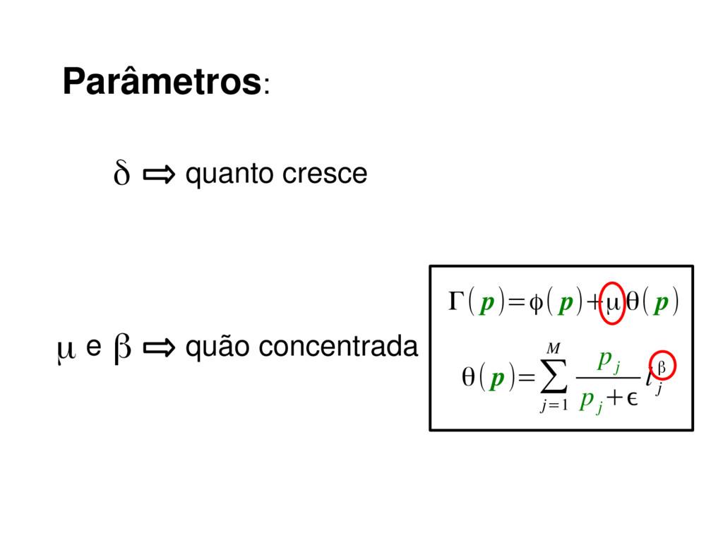 Parâmetros: δ quanto cresce β quão concentrada ...