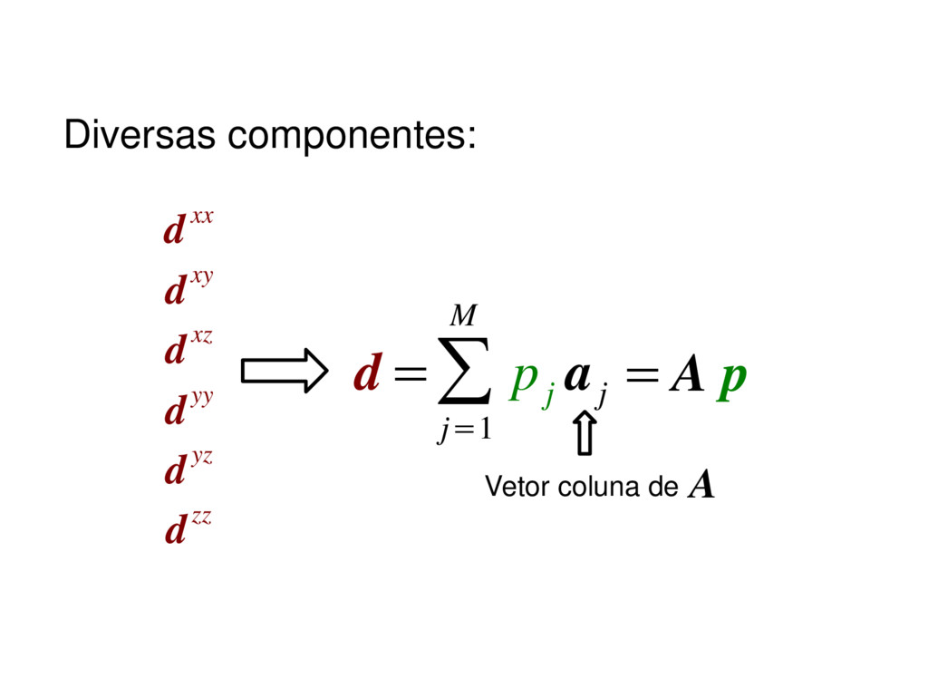 d dxx dxy dxz dyy dyz dzz =∑ j=1 M p j a j = A ...