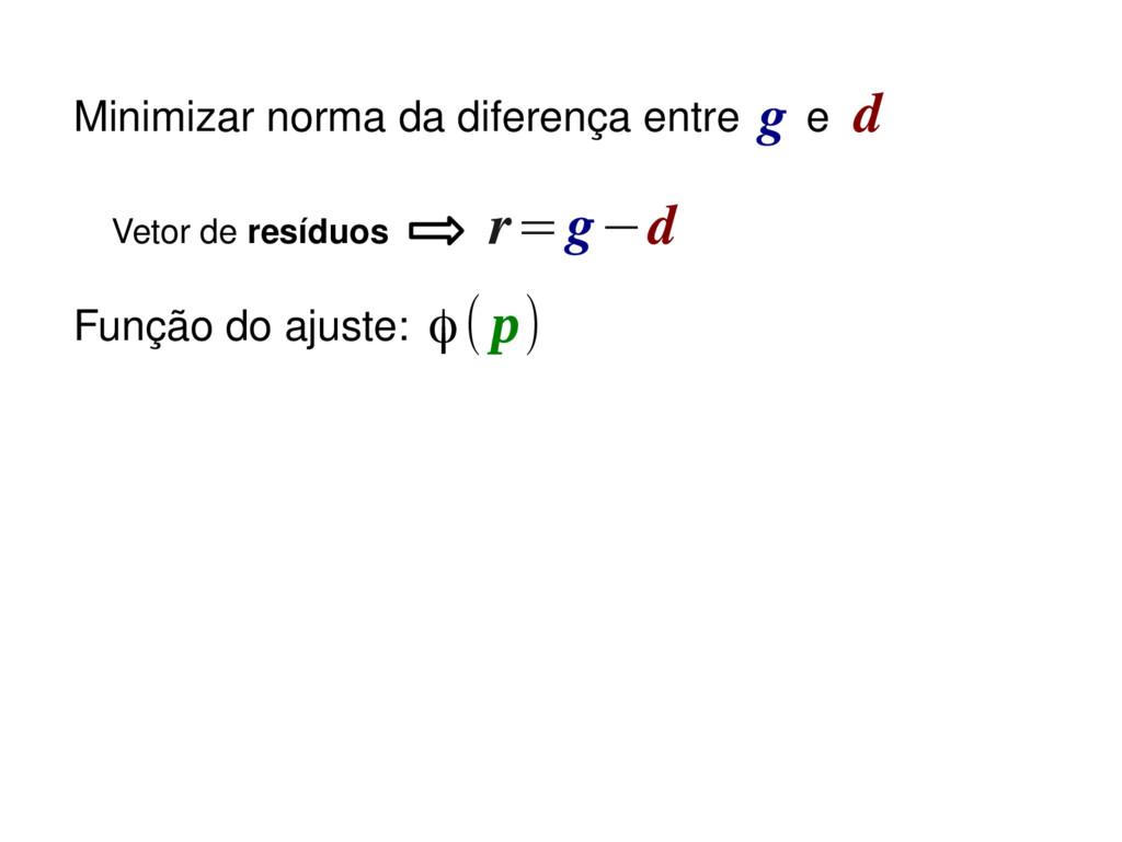 r=g−d Função do ajuste: Vetor de resíduos ϕ(p) ...