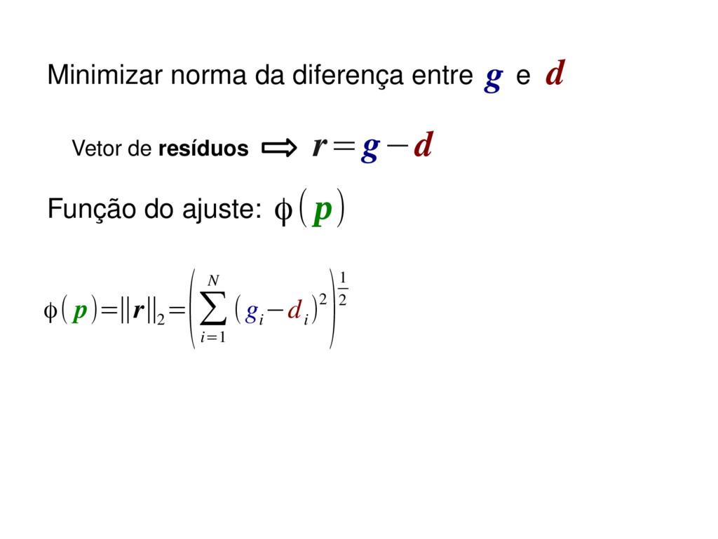r=g−d Função do ajuste: ϕ( p)=∥r∥2 = (∑ i=1 N (...
