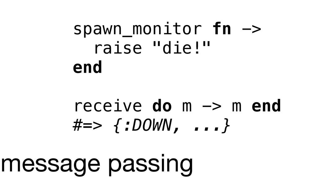 """spawn_monitor fn -> raise """"die!"""" end receive do..."""