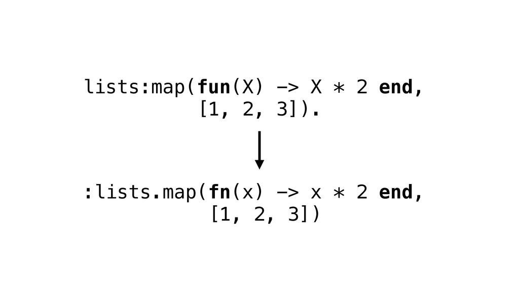 lists:map(fun(X) -> X * 2 end, [1, 2, 3]). :lis...