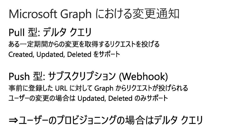 Microsoft Graph における変更通知