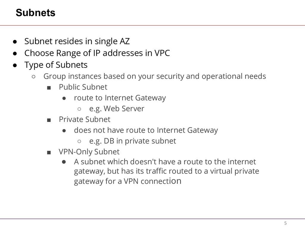 Subnets ● Subnet resides in single AZ ● Choose ...