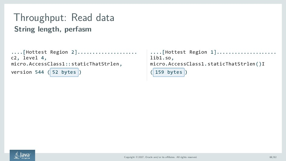Throughput: Read data String length, perfasm .....