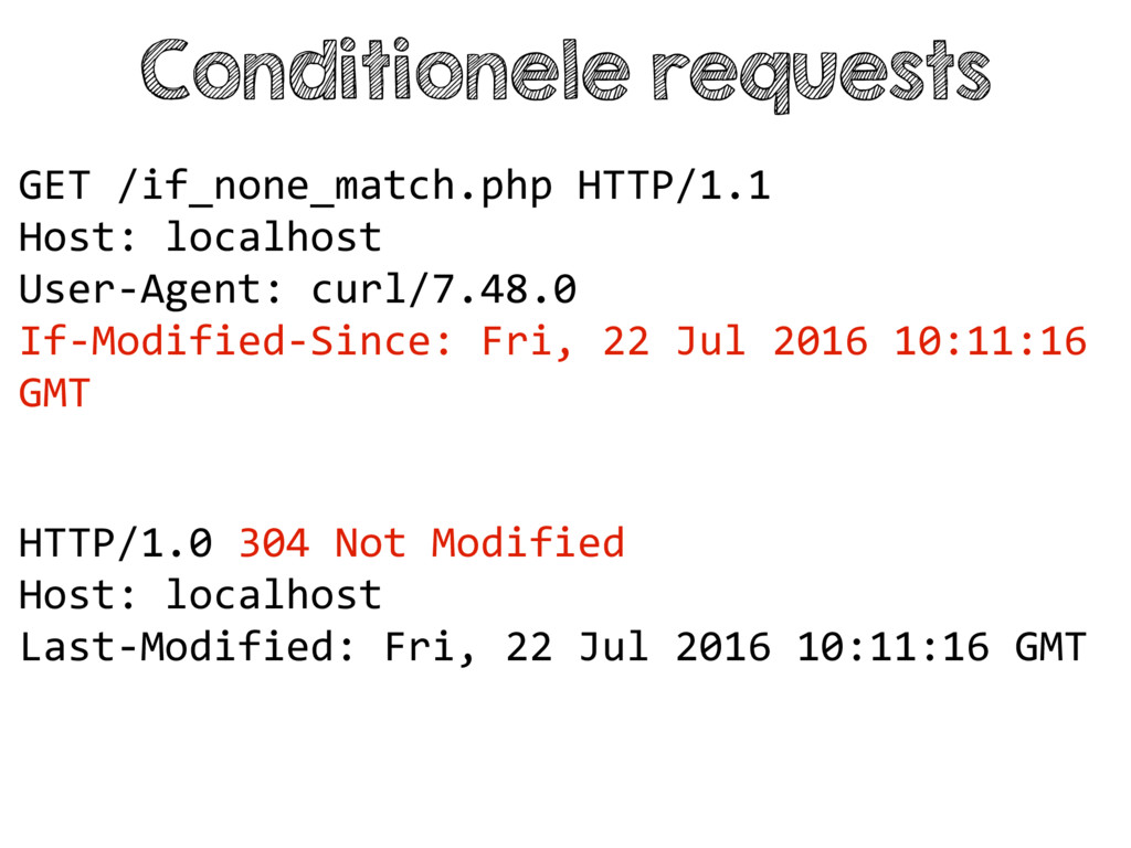 Conditionele requests HTTP/1.0 304 Not Modified...