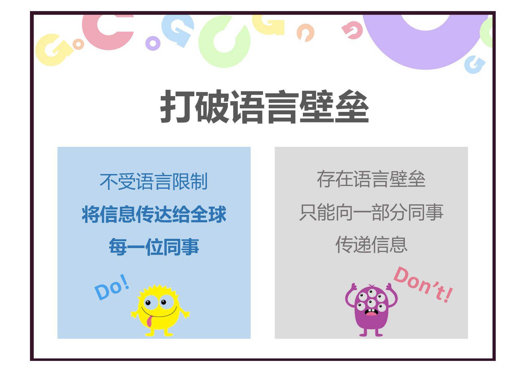 存在语言壁垒 只能向一部分同事 传递信息 不受语言限制 将信息传达给全球 每一位同事 打破语言...
