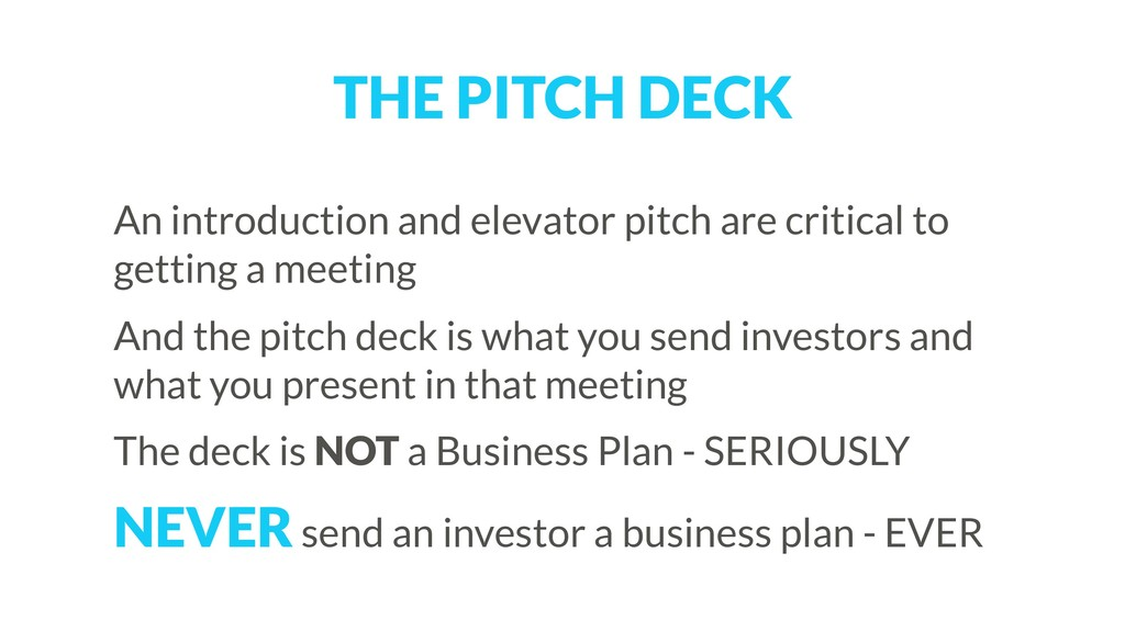 THE PITCH DECK An introduction and elevator pit...