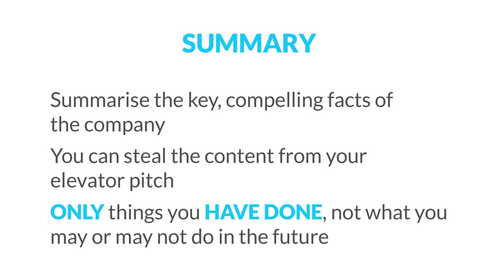 SUMMARY Summarise the key, compelling facts of ...