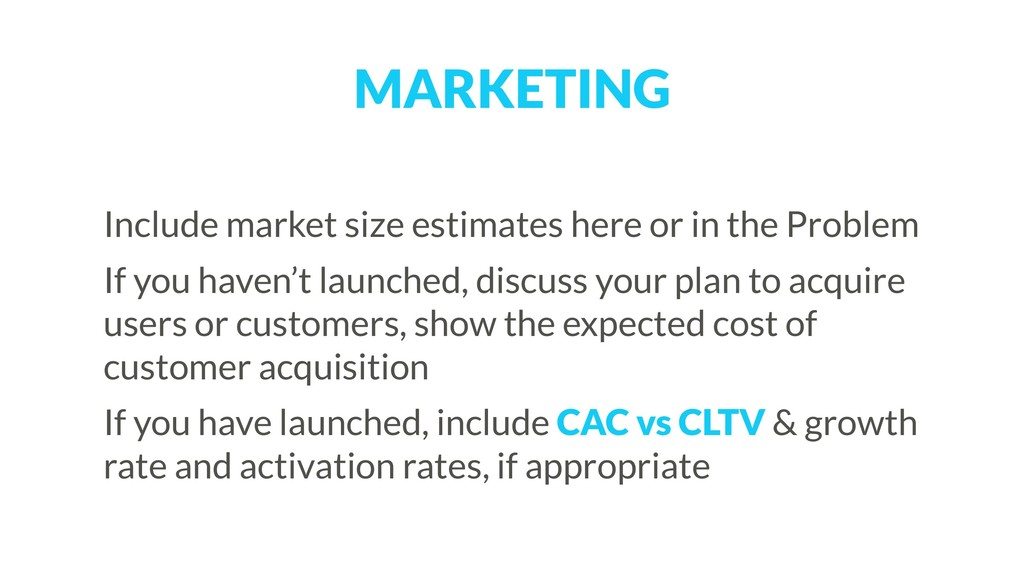 MARKETING Include market size estimates here or...