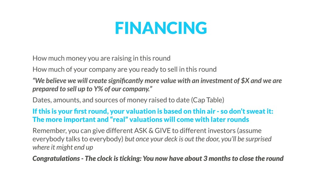 FINANCING How much money you are raising in thi...