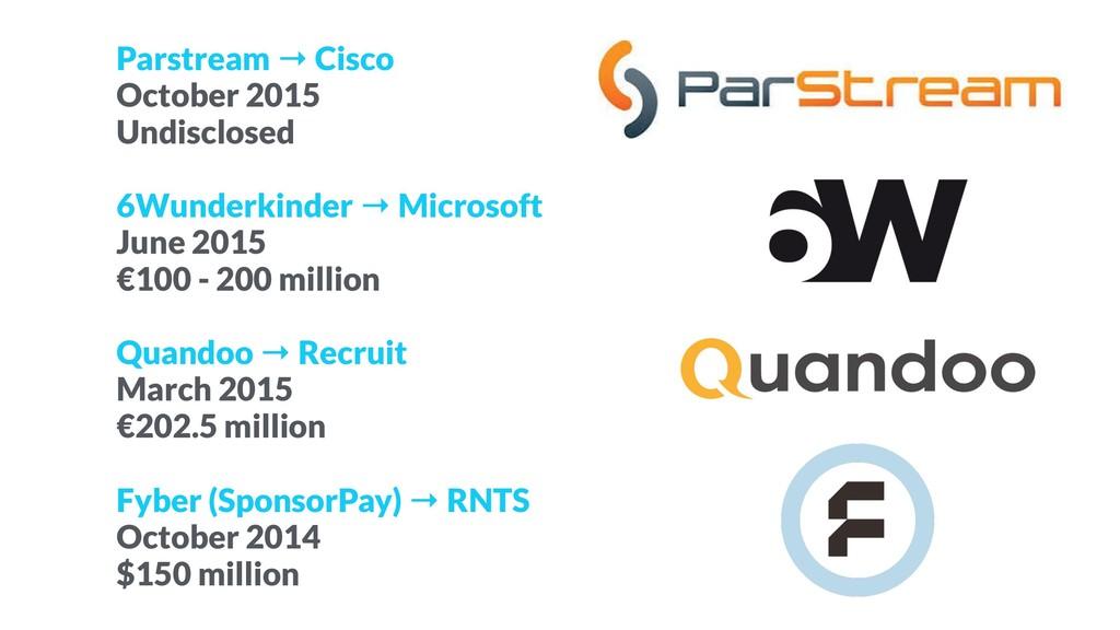 Parstream → Cisco October 2015 Undisclosed 6Wun...