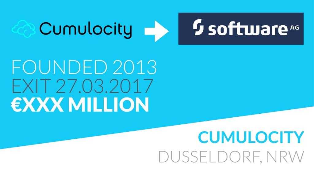 CUMULOCITY DUSSELDORF, NRW FOUNDED 2013 EXIT 2...