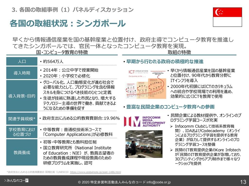 13 © 2020 特定非営利活動法人みんなのコード info@code.or.jp • グロ...