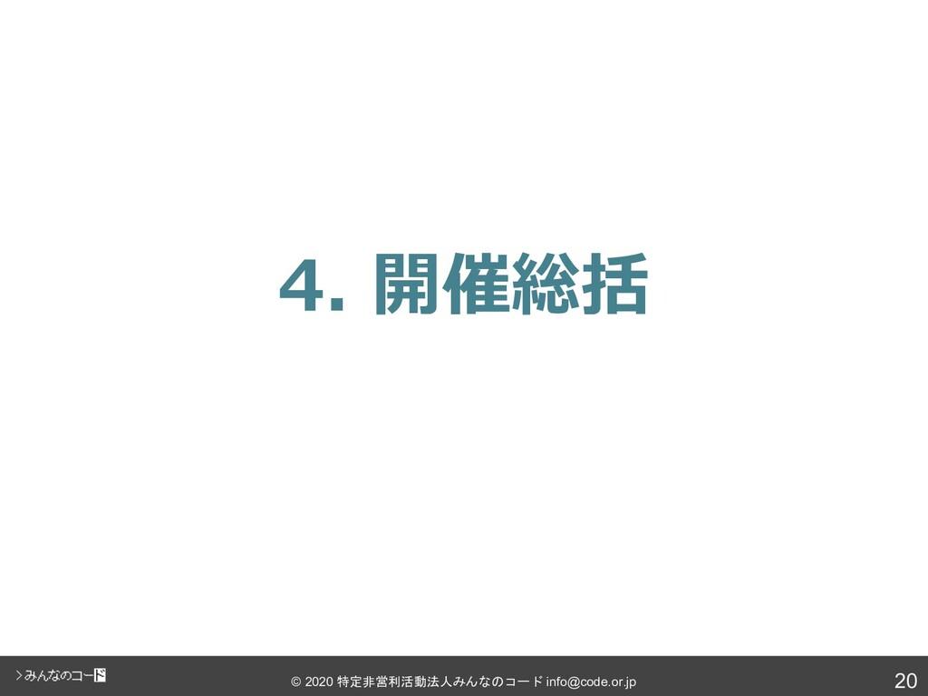 20 © 2020 特定非営利活動法人みんなのコード info@code.or.jp 4. 開...