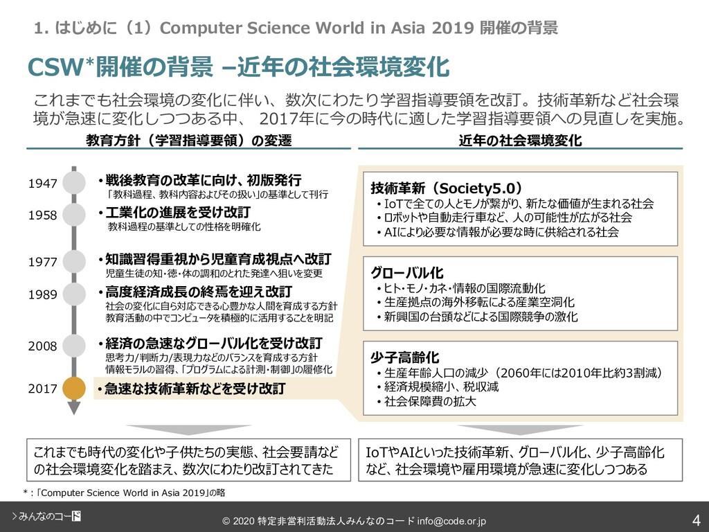 4 © 2020 特定非営利活動法人みんなのコード info@code.or.jp CSW*開...