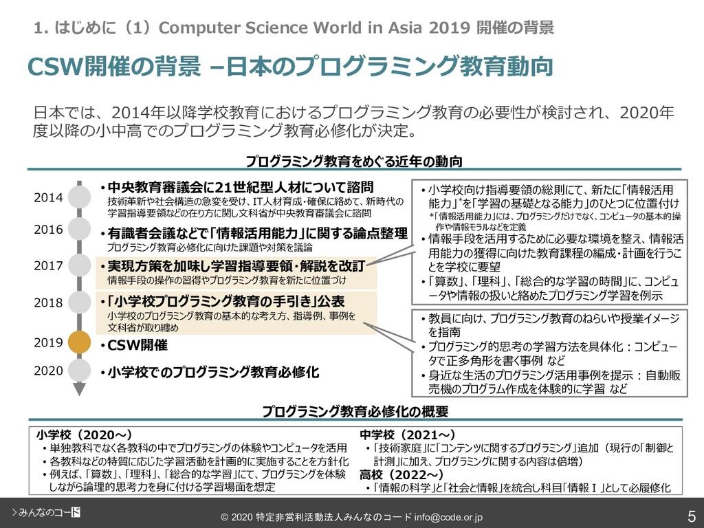5 © 2020 特定非営利活動法人みんなのコード info@code.or.jp CSW開催...