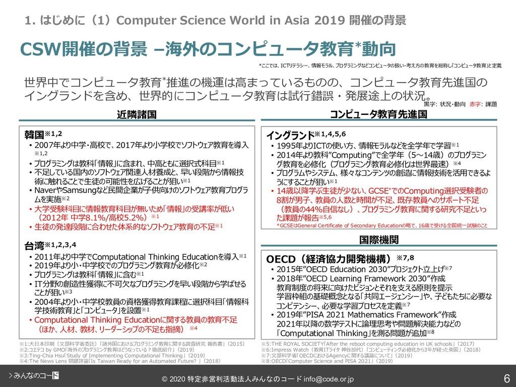 6 © 2020 特定非営利活動法人みんなのコード info@code.or.jp CSW開催...