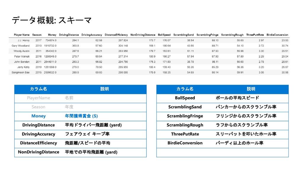 データ概観: スキーマ カラム名 説明 PlayerName 名前 Season 年度 Mon...