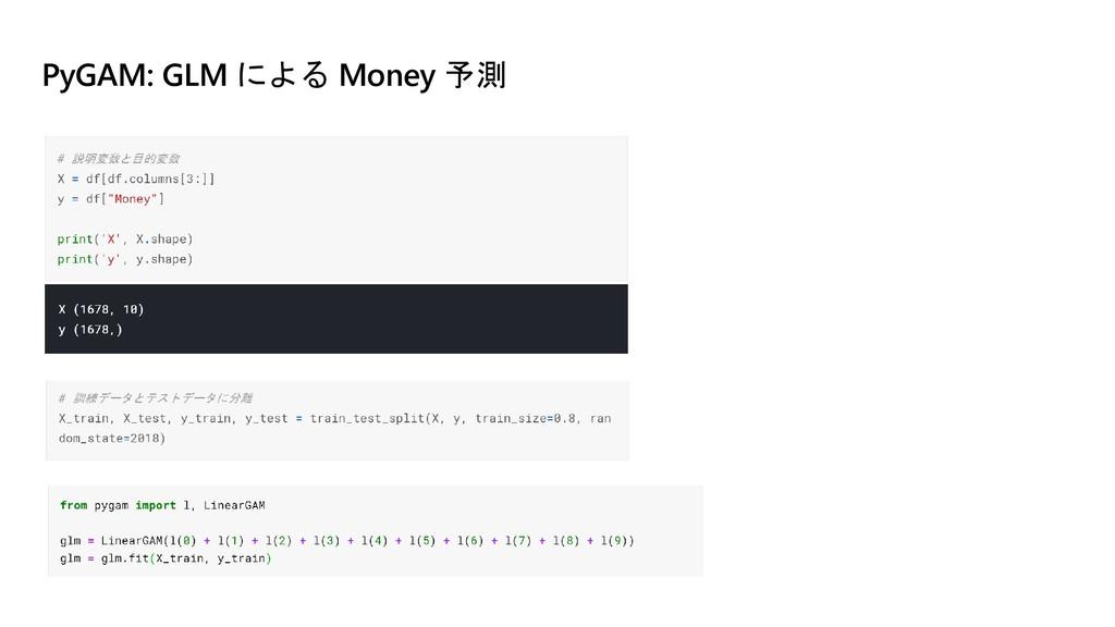 PyGAM: GLM による Money 予測
