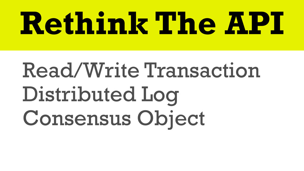 Rethink The API Read/Write Transaction Distribu...