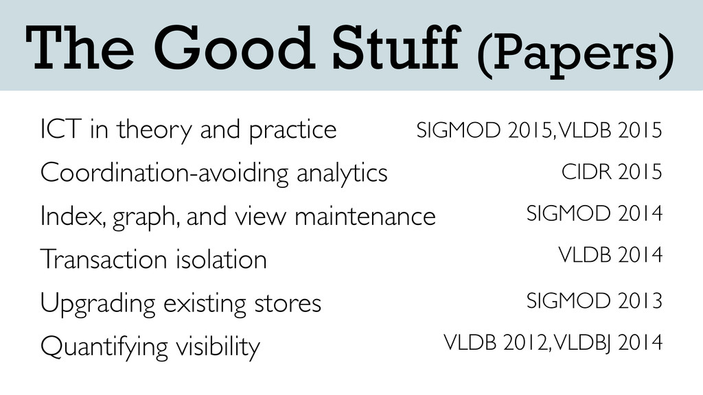 The Good Stuff (Papers) ICT in theory and pract...