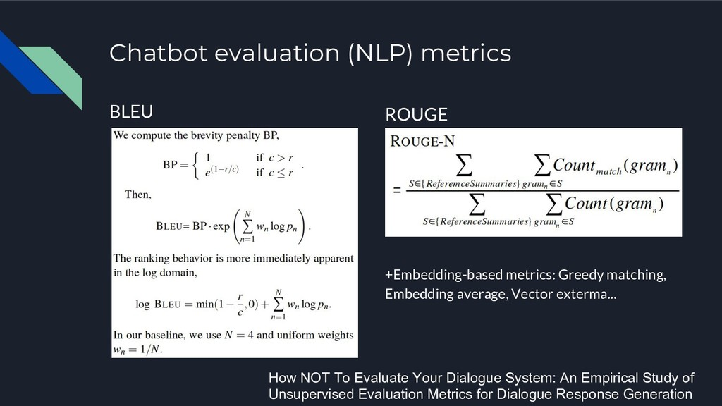 Chatbot evaluation (NLP) metrics BLEU ROUGE +Em...