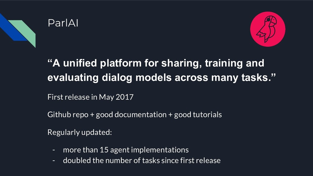 "ParlAI ""A unified platform for sharing, trainin..."