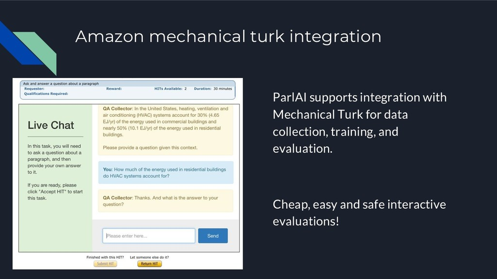 Amazon mechanical turk integration ParlAI suppo...