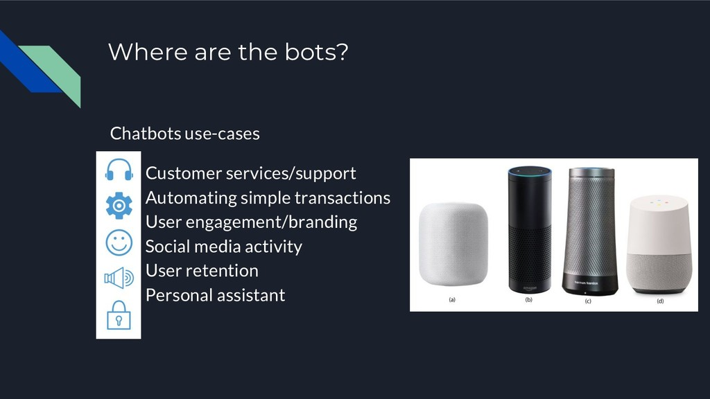 Where are the bots? Chatbots use-cases 1. Custo...