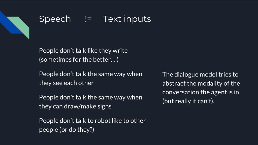Speech != Text inputs People don't talk like th...