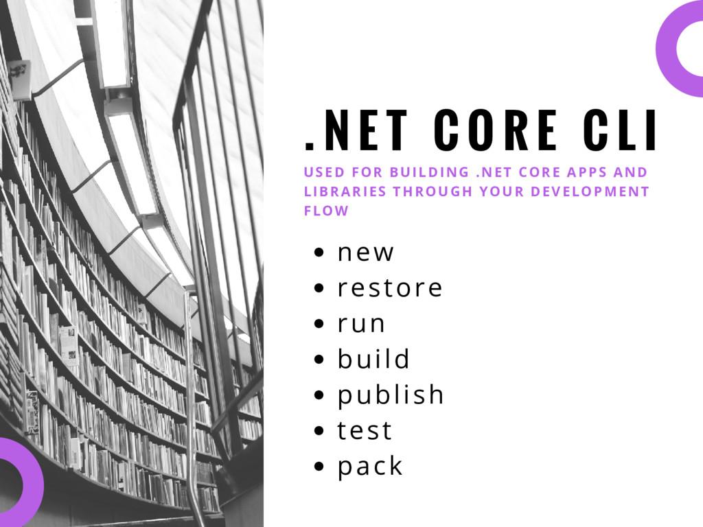 . N E T C O R E C L I USED FOR BUILDING .NET CO...