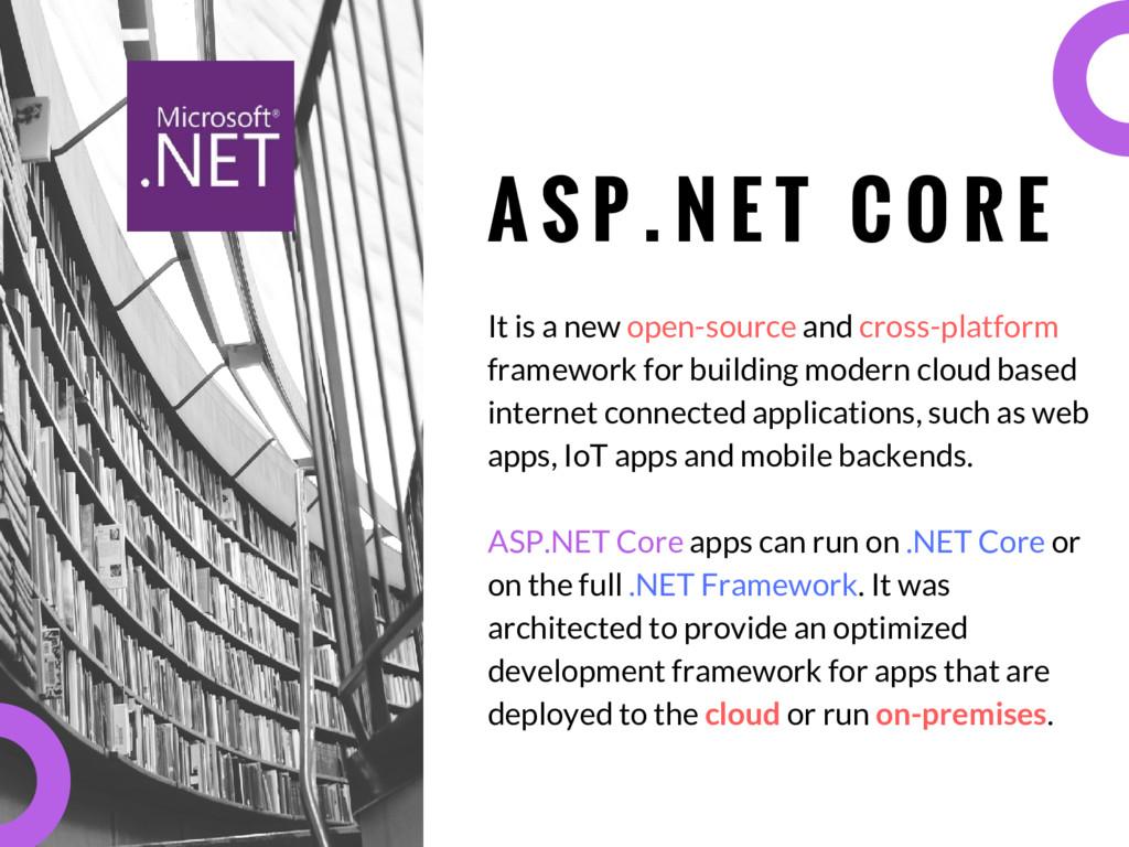 A S P . N E T C O R E It is a new open-source a...