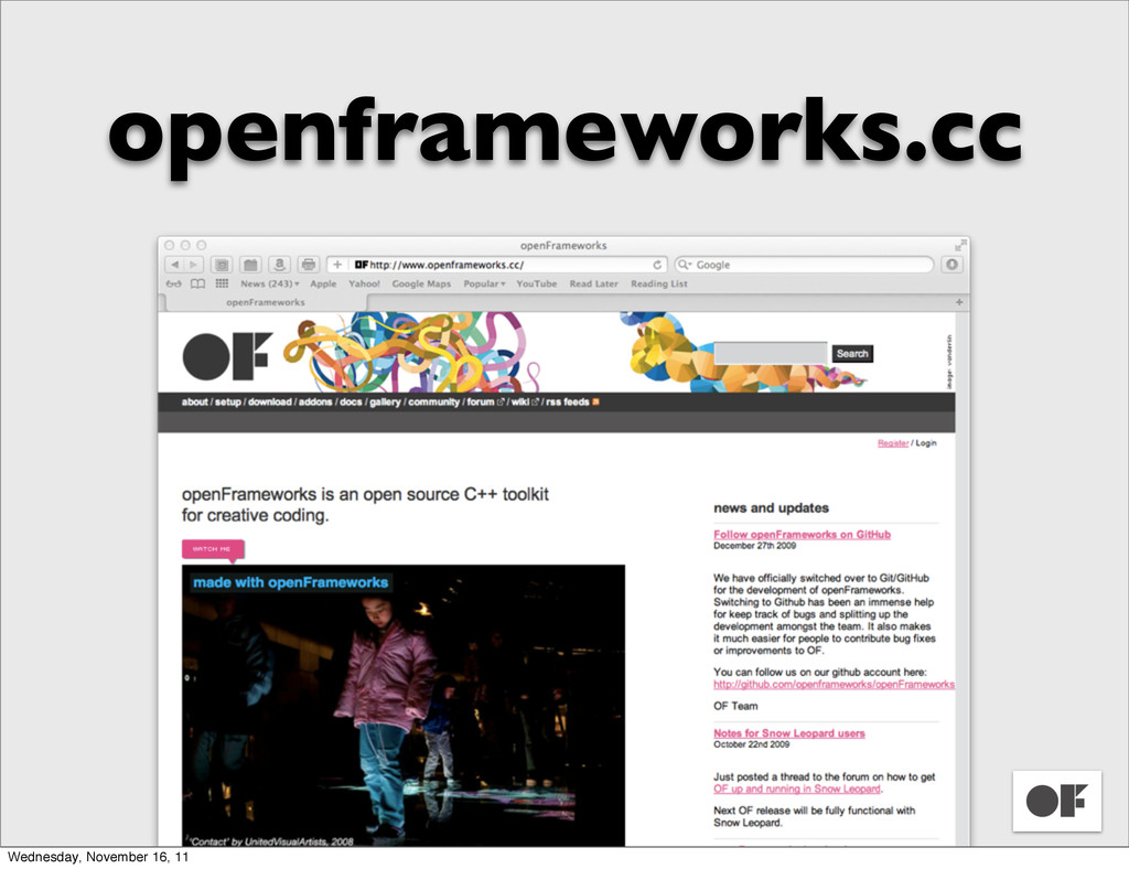 openframeworks.cc Wednesday, November 16, 11