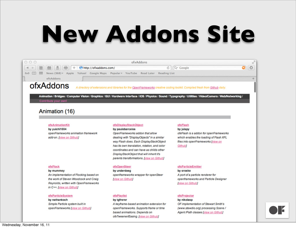 New Addons Site Wednesday, November 16, 11