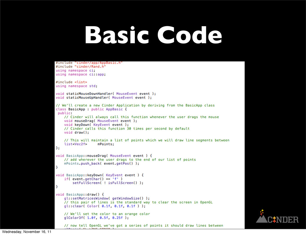 Basic Code Wednesday, November 16, 11
