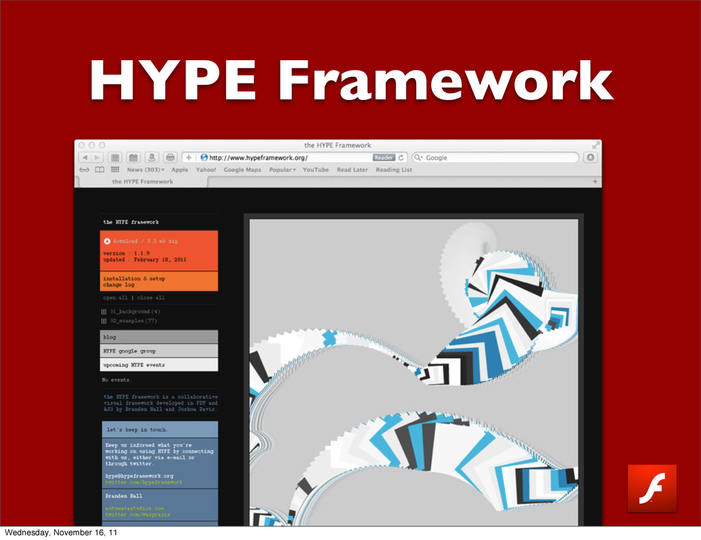 HYPE Framework Wednesday, November 16, 11