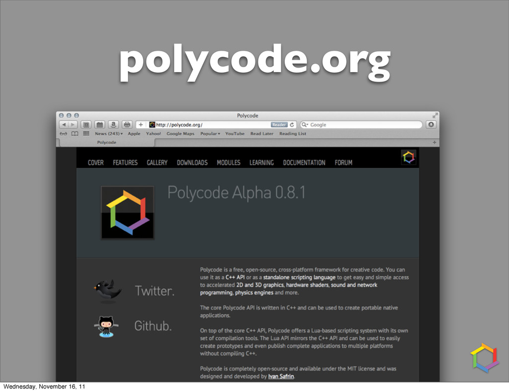 polycode.org Wednesday, November 16, 11