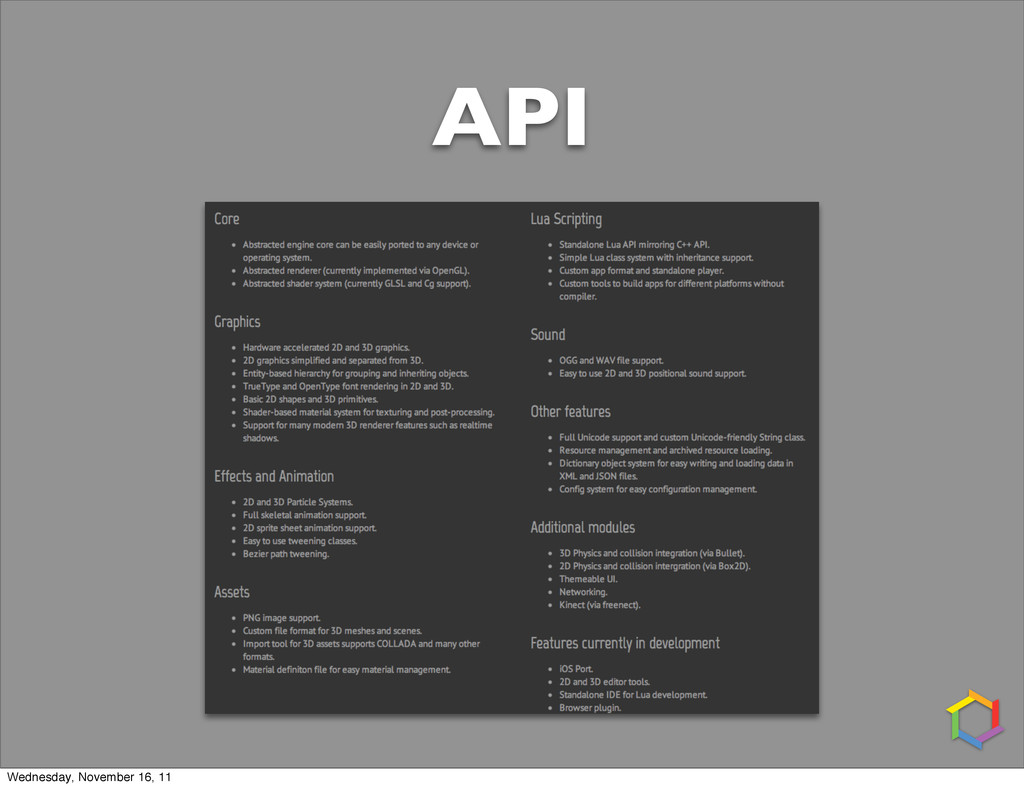 API Wednesday, November 16, 11