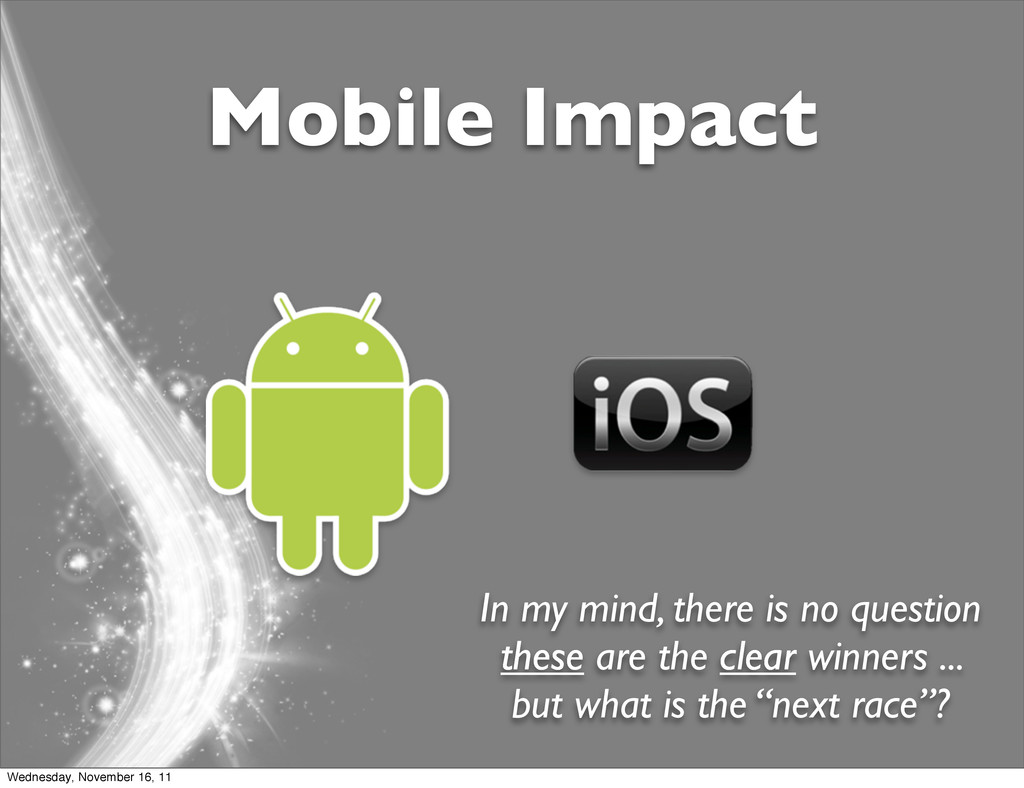 Mobile Impact In my mind, there is no question ...