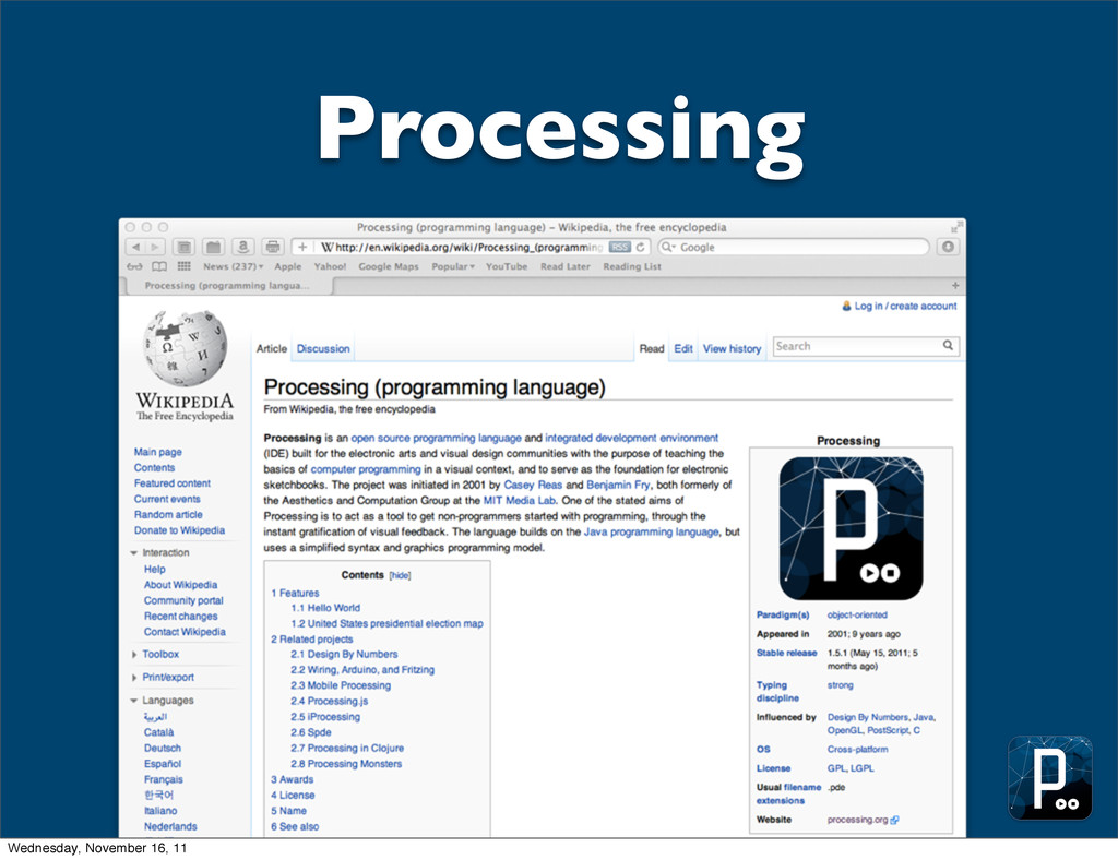 Processing Wednesday, November 16, 11