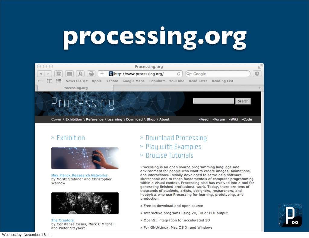 processing.org Wednesday, November 16, 11