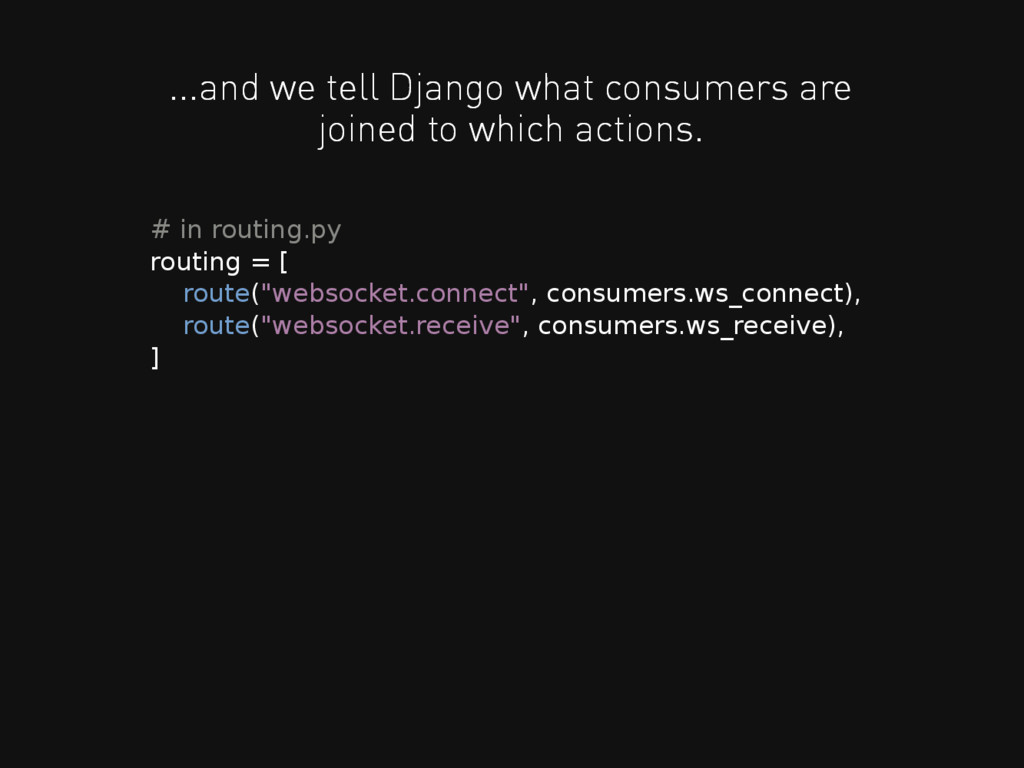 ...and we tell Django what consumers are joined...