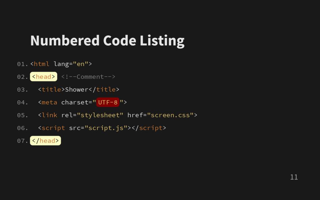 """Numbered Code Listing < h t m l l a n g = """" e n..."""