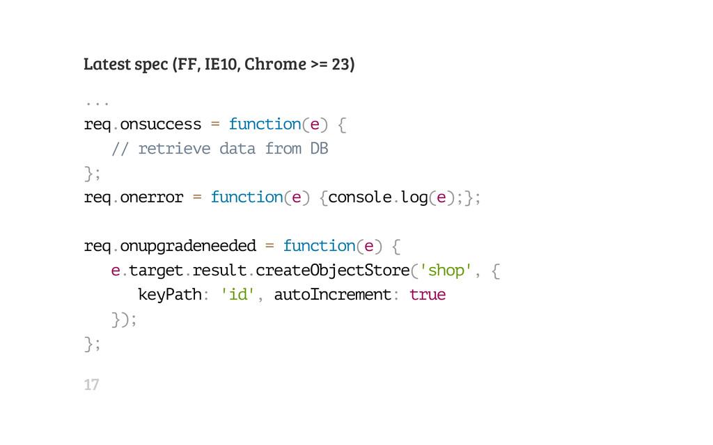Latest spec (FF, IE10, Chrome >= 23) . . . r e ...