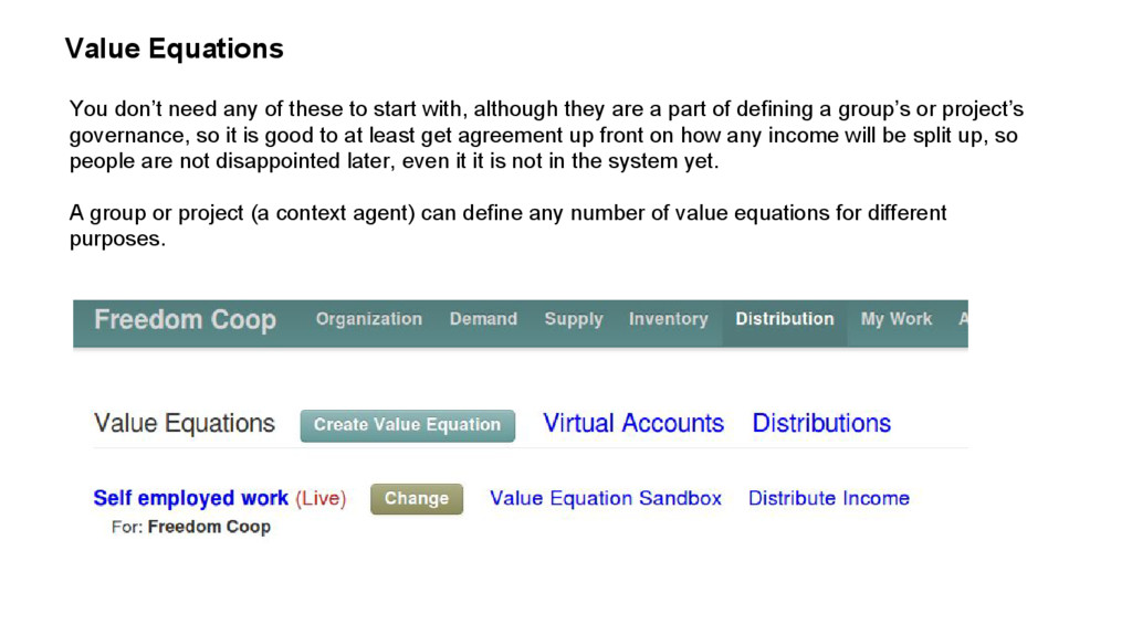 Value Equations You don't need any of these to ...