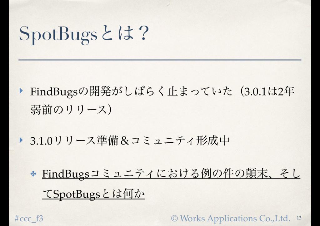 © Works Applications Co.,Ltd. #ccc_f3 SpotBugsͱ...