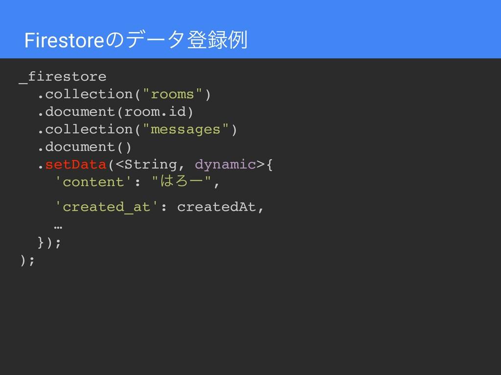 """Firestoreͷσʔλొྫ _firestore .collection(""""rooms""""..."""