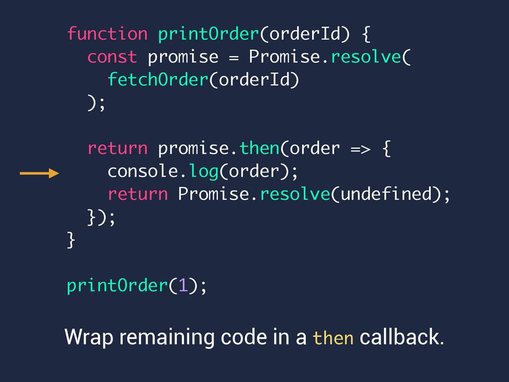 function printOrder(orderId) { const promise = ...